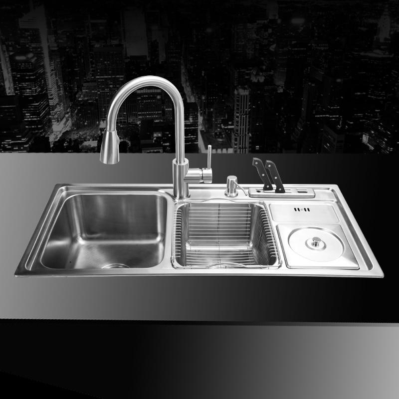 Us 131 25 910 430 210mm 304 Stainless Steel Undermount Kitchen Sink Set Three Bowl Drawing Drainer Handmade Brushed Seamless Welding Sink In Kitchen