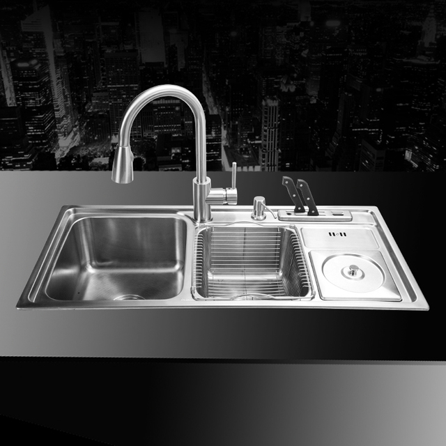 910*430*210mm 304 Stainless Steel Undermount Kitchen Sink Set Three Bowl  Drawing Drainer