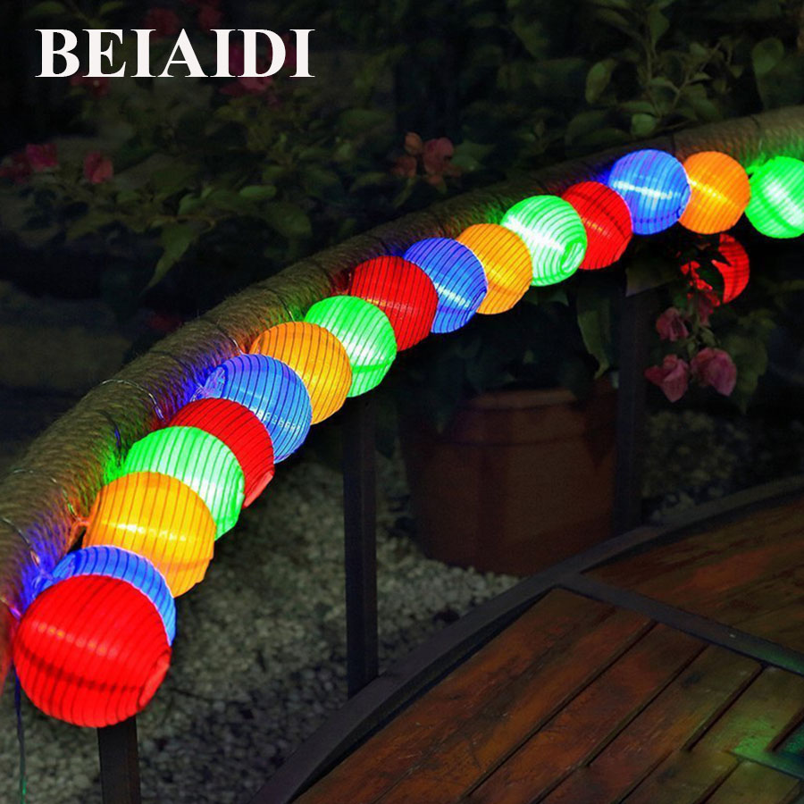 BEIAIDI Waterproof Lantern 30 LED Solar String Light Globe Ball Fairy String Light Christmas Party Patio Garden Outdoor Lighting