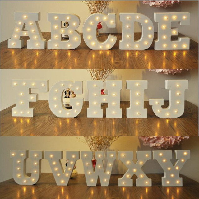 Romantic Wedding Decoration Letter Light Novelty Diy Led Wood 26