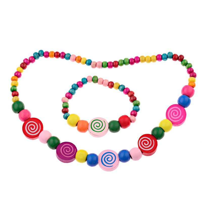 2019 Free Shipping New Children Jewelry Sets for Girls  Cute Candy Beads Necklace Bracelet Jewelry Set  Baby Birthday Gift