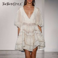 TWOTWINSTYLE Beading Dress For Women V Neck Sexy Lantern Sleeve Patchwork A Line Mini Dresses Summer