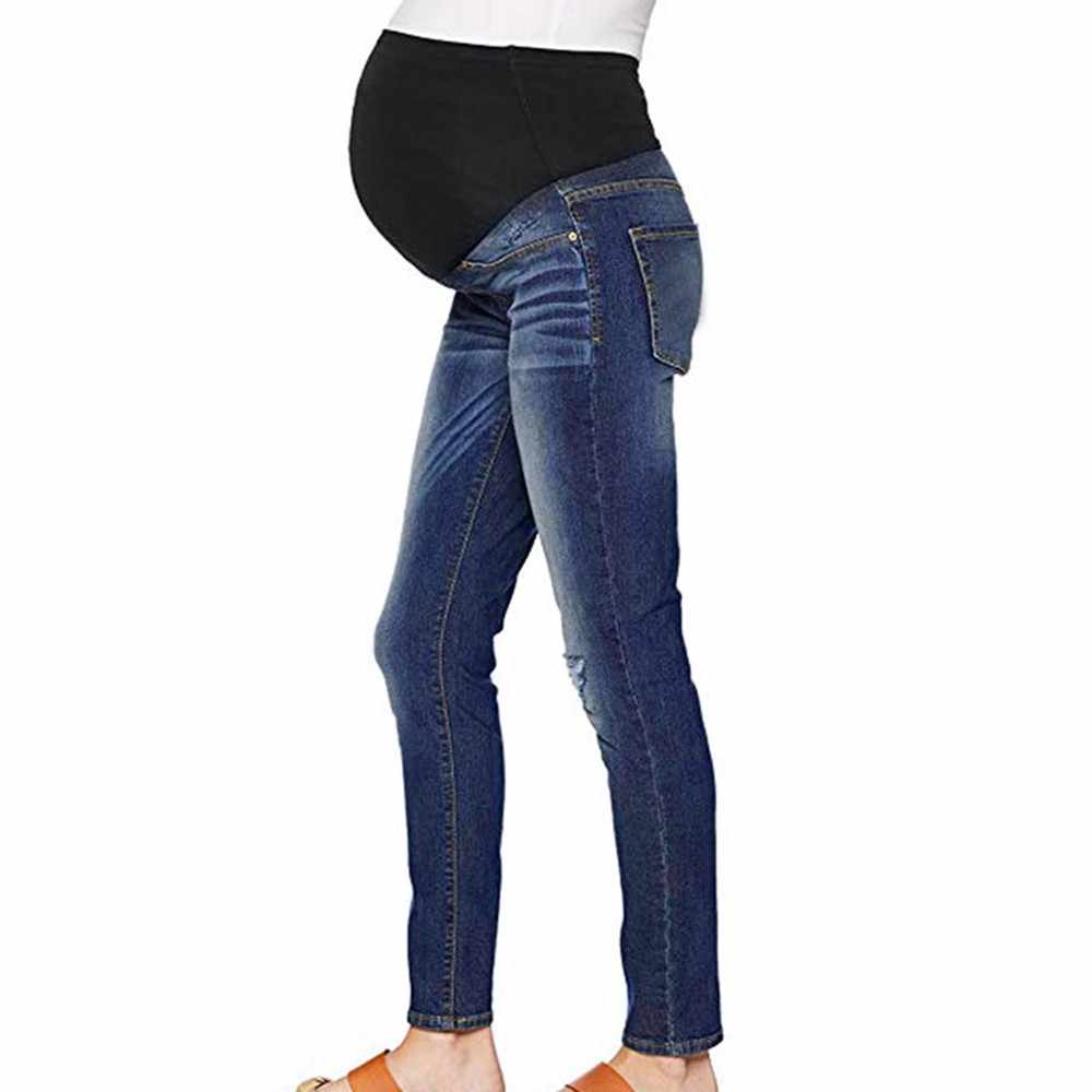 Pregnant Woman Ripped Jeans Maternity Pants Trousers Nursing Prop Belly Legging Jeans 2019