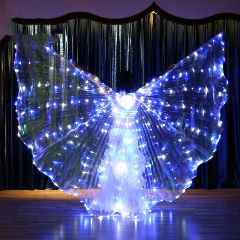 Flash Blink Color Led Isis Wings Props Belly Dance Accessories Stage Performance Props Shining Led Wings Open 360 Degrees Club