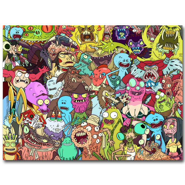 Rick and Morty Anime Art Silk Fabric Poster Print 13×18 20x27inch Cartoon Trippy Picture for Living Room Wall Decoration Gift 15