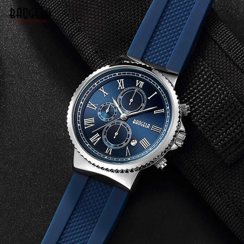 Baogela Chronograph Quarz Uhren für Männer Jungen Fashion casual Mann Wasserdichte Analog Armbanduhr Luminous Hände Blau BG1708