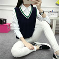 2016 Autumn HALAJUKU new fashion striped cute college wind sweater vest V Neck Contrast Color Knitted Tops Korea High Fashion