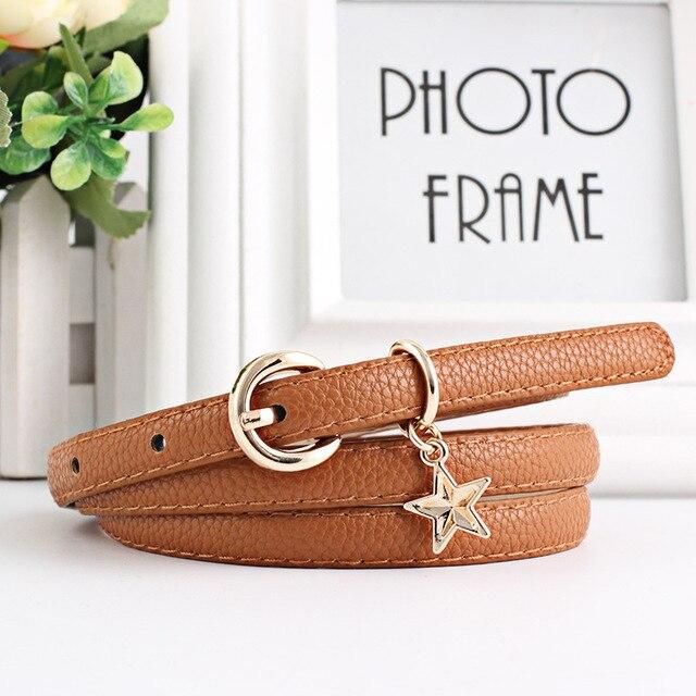 8ad7e4cc1 PU Leather Thin Belt Female Waist Belts Women Star decoration student Belt  Strap cinturon mujer cinto