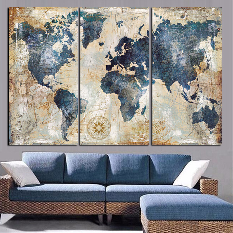 Modular Canvas Paintings Home Decor 3 Pieces World Map Pictures HD Prints Fashion Abstract Poster Living Room Wall Art Framework