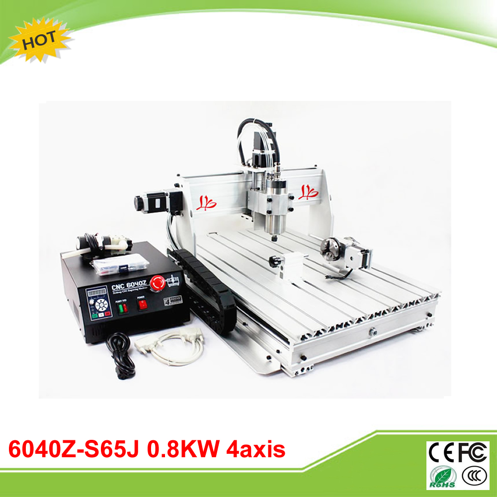 6040Z-S65J 4 axis CNC mini carving machine with 800W VFD spindle rotary axis for 3D CNC free tax to Russia russia tax free cnc woodworking carving machine 4 axis cnc router 3040 z s with limit switch 1500w spindle for aluminum