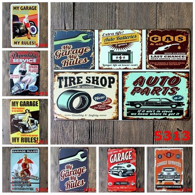 20x30 cm Adesivi Murali My Garage My Regole Segnaletica Retro In Metallo Tin seg