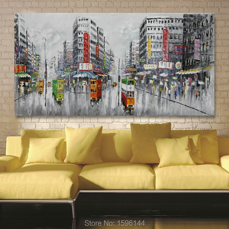 Wall Art Oil Painting Abstract Original Hand painted Old Street ...