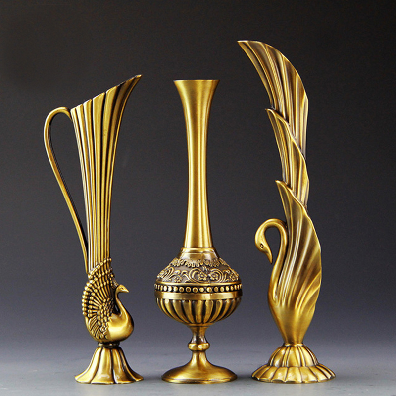 European retro peacock vase metal alloy gold bronze small vase modern table jardinie creative home decorative