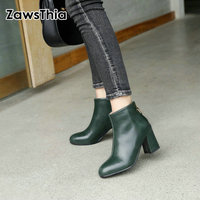 ZawsThia PU round toe green block high heels woman stilettos pumps fashion ankle boots for women martin boots female footwear
