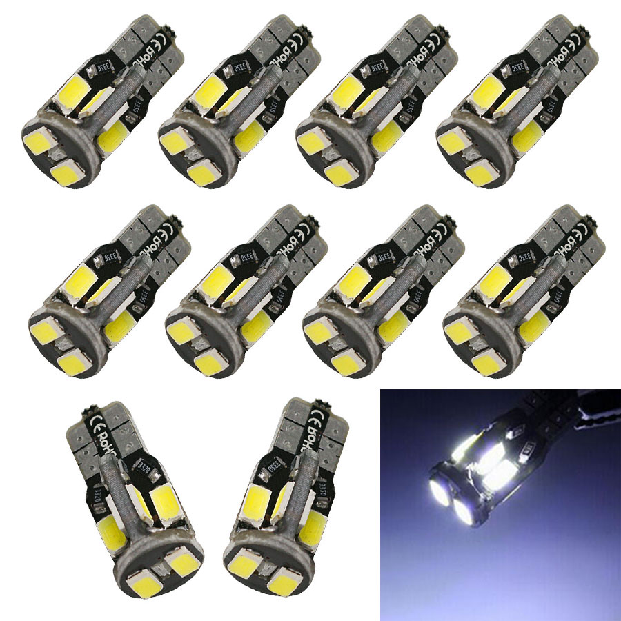 10pcs Car W5W T10 Canbus LED Bulb 5730 5630 SMD For Side Marker Wedge License Plate Reading Lamp Silica gel Bulb White Lights