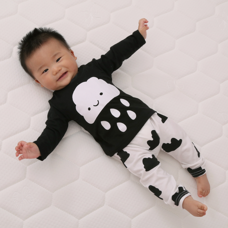 2017 New cute kids clothes boys baby long sleeve cotton T-shirt+Pants suits retail newborn baby children suits fit 0~2 years