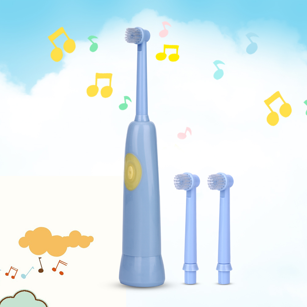 AZDENT Music Electric Toothbrush For Children Battery Operated Oral Hygiene Kids Electric Tooth Brush Teeth 1 or 3 or 5 Heads ckeyin cartoon dolphin children music electric toothbrush led tooth brush 22000 min kids sonic toothbrush electric 3 brush heads