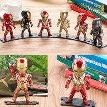 The Avengers  Superheroes 6 war loss version of Iron Man car hands-on PVC Action Figures Toys 6pcs/set Car Decoration