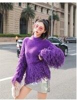 Korean Women Tassel long Sleeve Sweater Women Mink Cashmere Colorblock KnitwearFashion Fringe Sweater