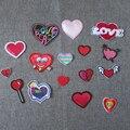 Moda guapo rojo corazón parche adhesivo de fusión en caliente de parche bordado de applique parche accesorios de vestir de DIY C436-C2076