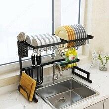 Prata/preto pia da cozinha rack de aço inoxidável pia dreno rack armazenamento secagem titular 2 camada cozinha prato prateleira organizador