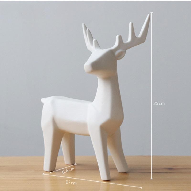 2017 Keramik Crafts Figurine Vintage Wohnkultur Kreative Wohnzimmer Kleine Tiere Ornamente Weiss Elk 17 Cm