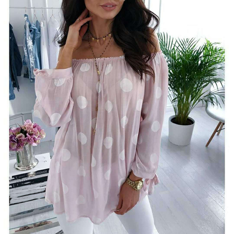 Autumn Polka Dot Shirt Blouse Women Long Sleeve Sexy Off Shoulder Top Loose All-match Women Shirts Blusas Plus Size 5XL WS9516M 2