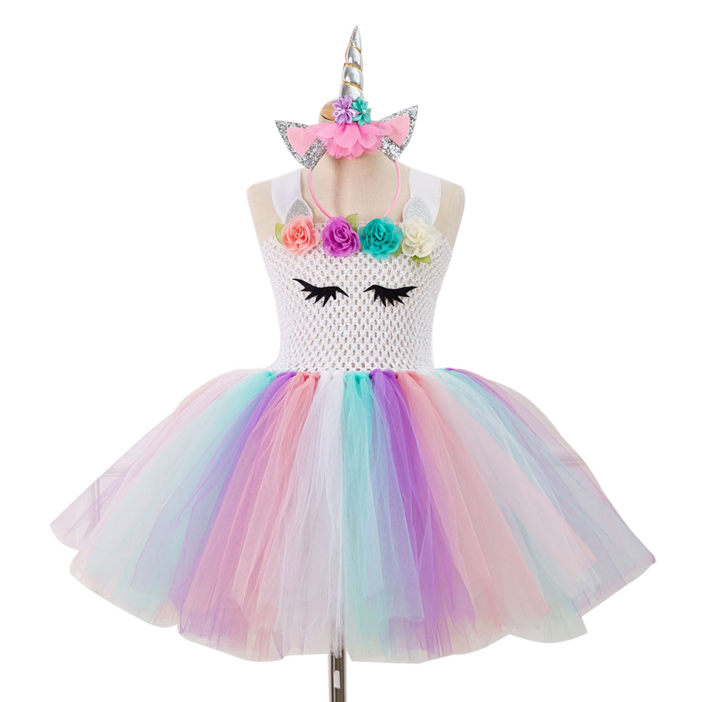 Little Pony Unicorn Party Dress for Girls Princess Christmas Halloween Costume