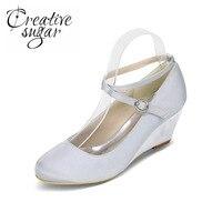Creativesugar Elegante dame wiggen gekruiste strap satijnen jurk schoenen beknopte cocktail bruiloft champagne ivoor paars wit