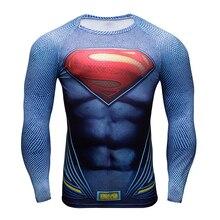 Мужская Одежда Фитнес футболка 3D Супермен/Капитан Америка Футболка С Длинным Рукавом Мужчины Crossfit Сжатия Рубашка