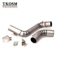 TKOSM Motorcycle Exhaust Titanium Middle Pipe Round Muffler For KTM DUKE125 DUKE 200 DUKE 250 DUKE
