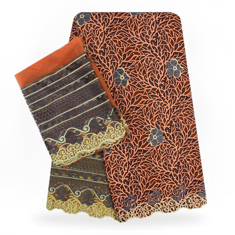 Vestito da cerimonia nuziale materiale cera con tessuto di pizzo guipure africano del merletto tessuto di pizzo cavo con perline 2018 di alta qualità! YBG081031
