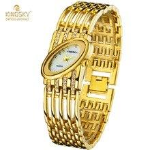 Montre Femmes KINGSKY Montre Marque Célèbre Or Ovale Cas Alliage Diamant Bande De Mode Reloj Mujer 2016 Dames Montre Livraison Gratuite