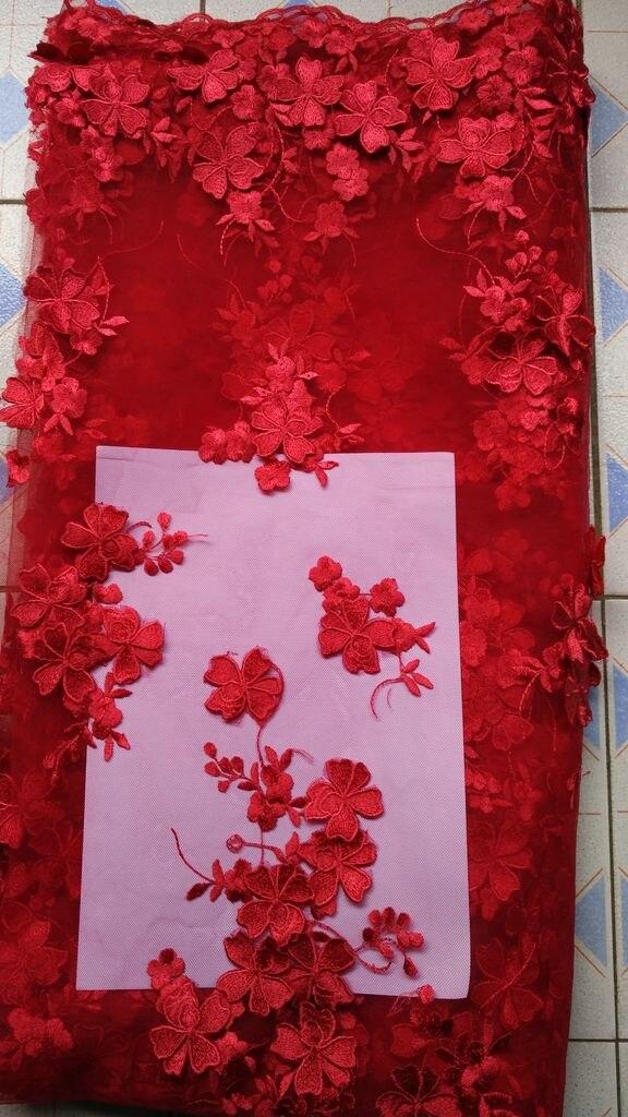 Tissu 3d brodé à la main fleurs rouges bricolage dentelle tissus dentelle garniture couture offre spéciale France robe de mariée tissu coton