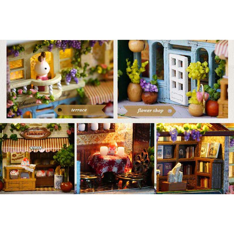 In A Happy Corner DIY Dollhouse Miniature 3D Doll House Kit Box Theatre Gift