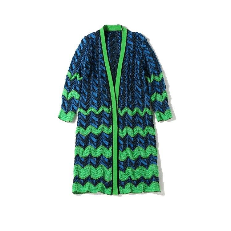 Delle Del Autunno Maniche Banda Della Cardigan Cappotto Stile Nuovo Seghe Maglione Nove Dentata Europeo Onda Donne Italiano Colorato Blu Verde 2018 6O1ax