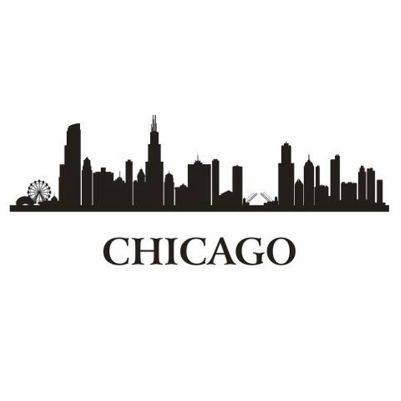 CHICAGO City Decal Landmark Skyline Wall Stickers Sketch