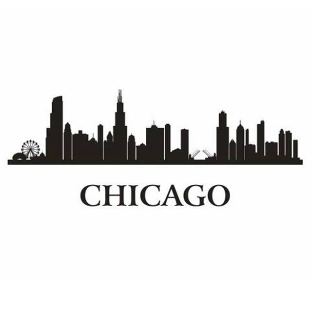 Chicago city decal landmark skyline wall stickers sketch decals poster parede home decor sticker