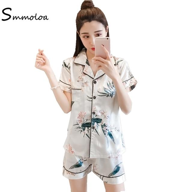 Smmoloa Women Summer Floral Print Silk Pajamas Oversize 5XL Short Sleeve  Big Size Sillk Pajamas 42c2e6def