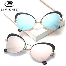CIVICHIC New Fashion Women Cat Eye Sunglasses Personalized Mirror Coating Oculos De Sol Street Snap Eyewearing UV400 Gafas E349
