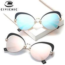 CIVICHIC New Fashion Women Cat Eye Sunglasses Personalized Mirror Coating Oculos De Sol Street Snap Eyewearing UV400 Gafas E349