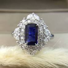 18K Gold 0.958ct Natural Sapphire Women Ring with 0.765ct Diamond Setting 2016 New Fine Jewelry Wedding Band Engagement