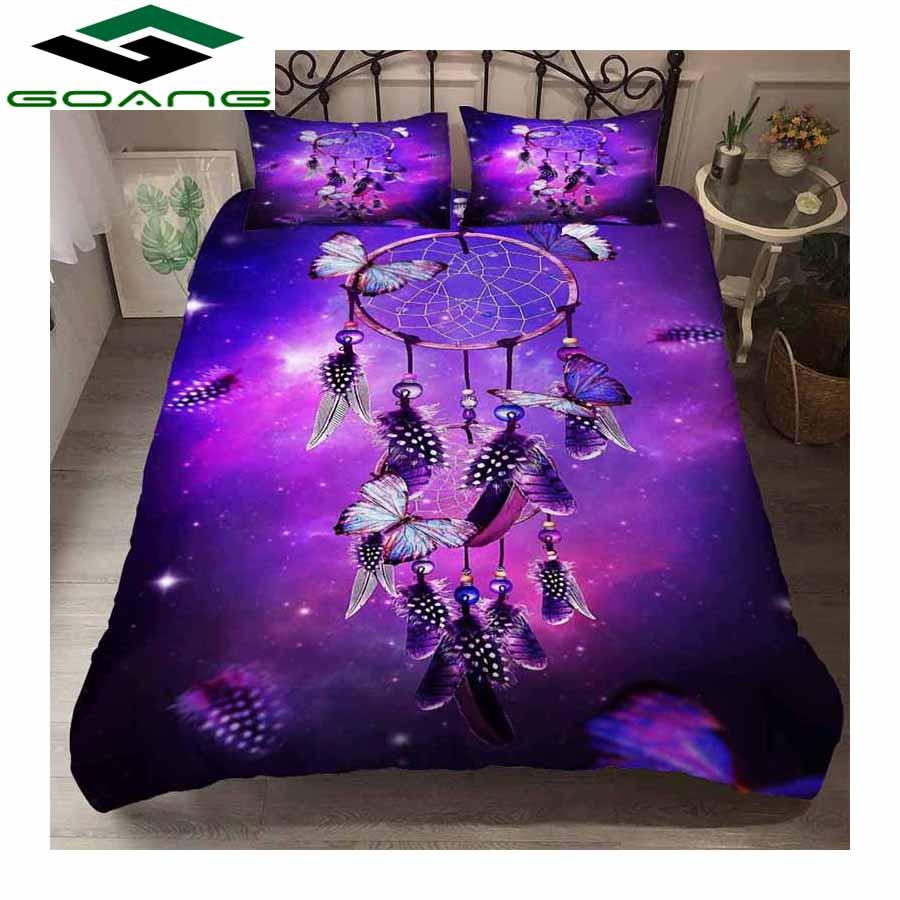 GOANG Bedding Set Bed Sheet Duvet Cover Pillow 3pcs Queen Size Bedding Set 3d Digital Printing Purple Feather Dreamcatcher