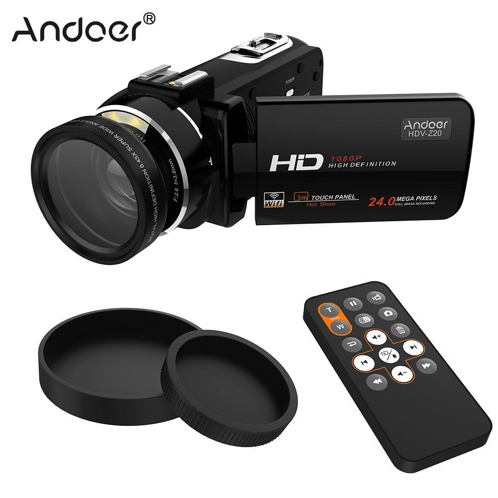 Prix pour Andoer HDV-Z20 Portable 1080 P Full HD Vidéo Caméra avec Angle Lentille Mega Zoom Caméscope LCD avec Télécommande Soutien WiFi