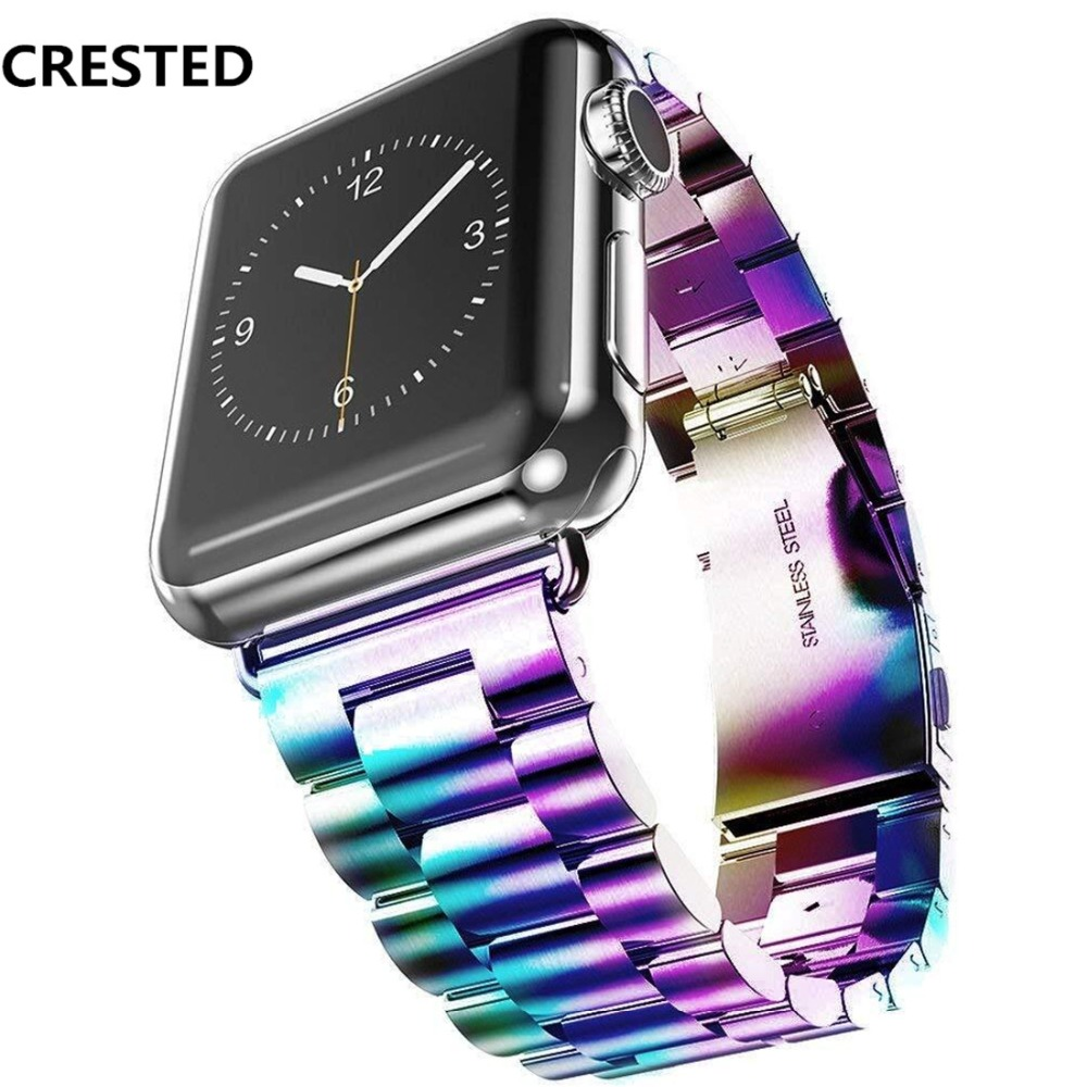 CRESTED Link bracelet For Apple watch band strap 42mm 38mm iwatch series 3/2/1 Stainless steel wrist bands belt Watchband цена