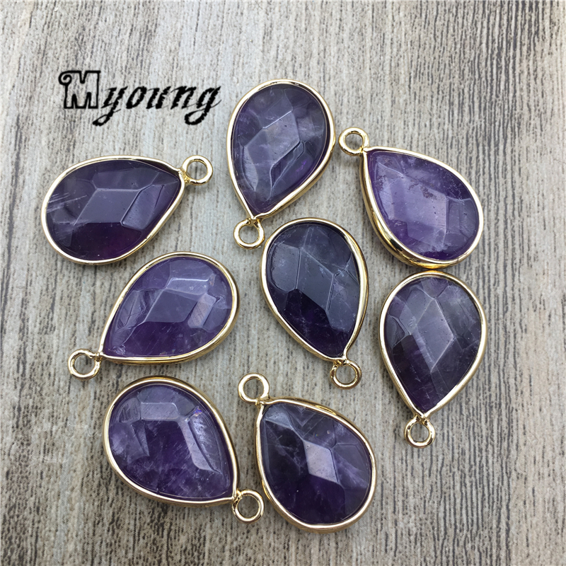 Faceted Teardrop Shape Amethysts Charms Purple Crystal Quartz Pendant For DIY jewelry MY2104