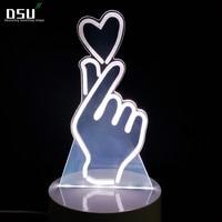 3D Tim Cử Chỉ Tôi Yêu Bạn Sign Led đèn Quà Tặng Mới Lạ 7 Colors Thay Đổi Động Vật Led Night Lights Bàn Bảng Home Trang Trí