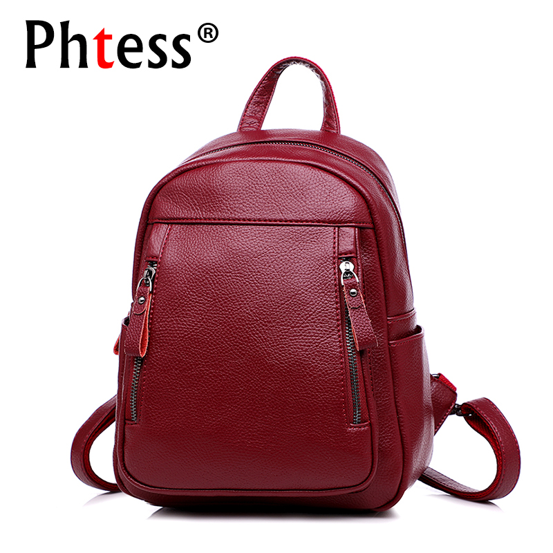 купить 2018 Women Leather Backapcks For Girls Sac a Dos Preppy School Bags Vintage Travel Bagpack Ladies Mochilas Female Back Pack Lady по цене 1611.54 рублей