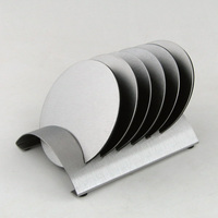 Houmaid Tableware Stainless Steel Round Drink Coasters Set With Rack Coffee Cup Mugs Pads Mats With Holders Table Mat