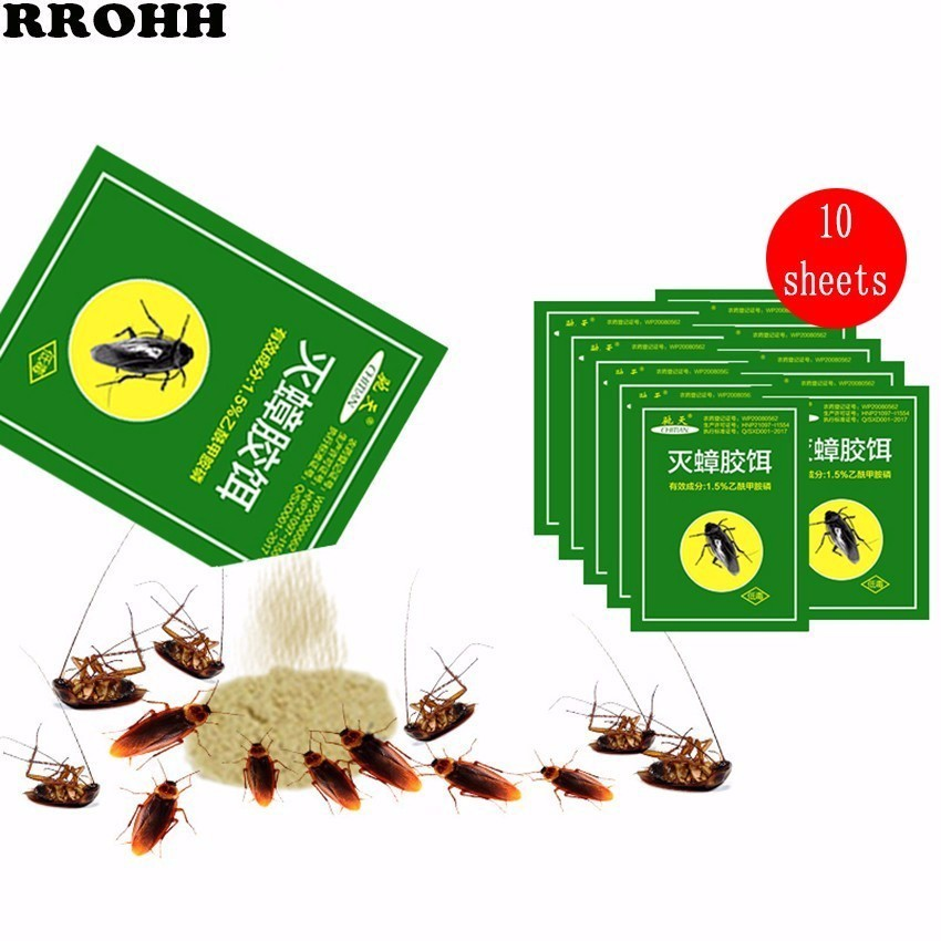 10PCS 2019 Newest Effective Killer Cockroach Powder Bait Repellent Insecticide Bug Beetle Medicine Insect Reject Pest Control-in Baits & Lures from Home & Garden